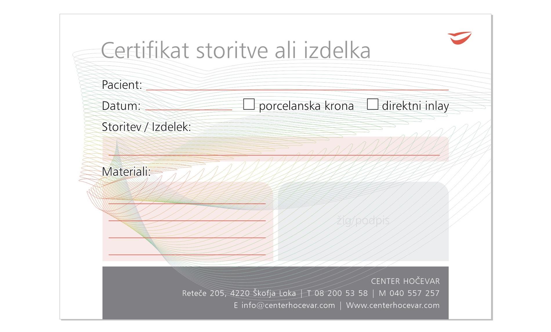 Certifikat materijali storitve